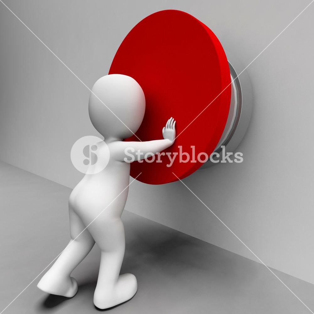 Man Pushing Button Shows Controlling