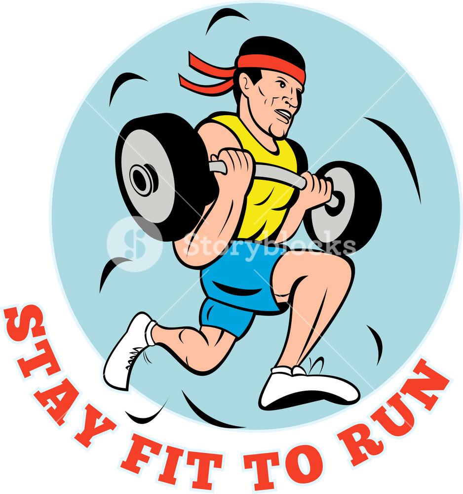 Man Running Jogging Lifting Weights