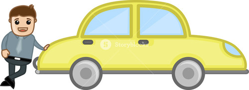 Man Standing With Car - Car Loan Concept -  Business Cartoon Character Vector