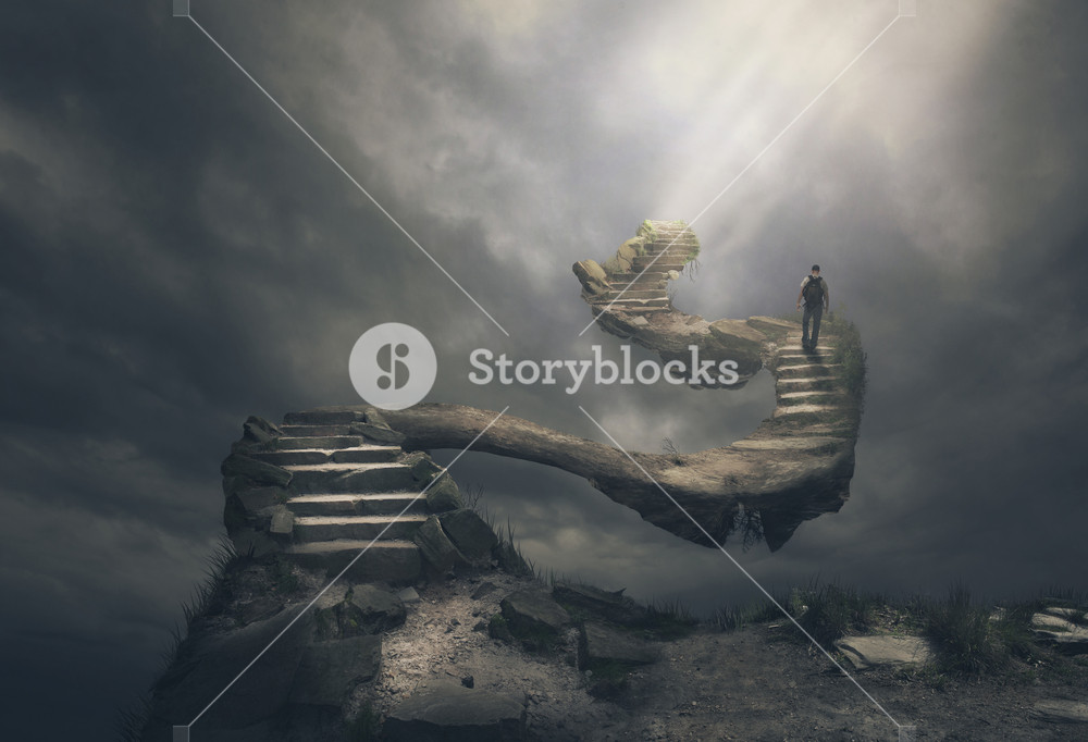 Man walks up a scary set of steps.