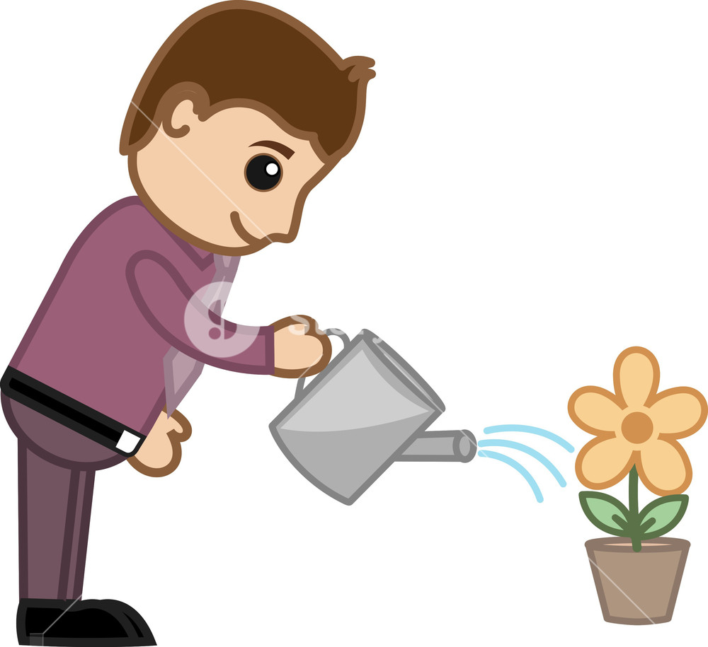 Man Watering Flower Plant Business Cartoon Character Vector Royalty Free Stock Image Storyblocks