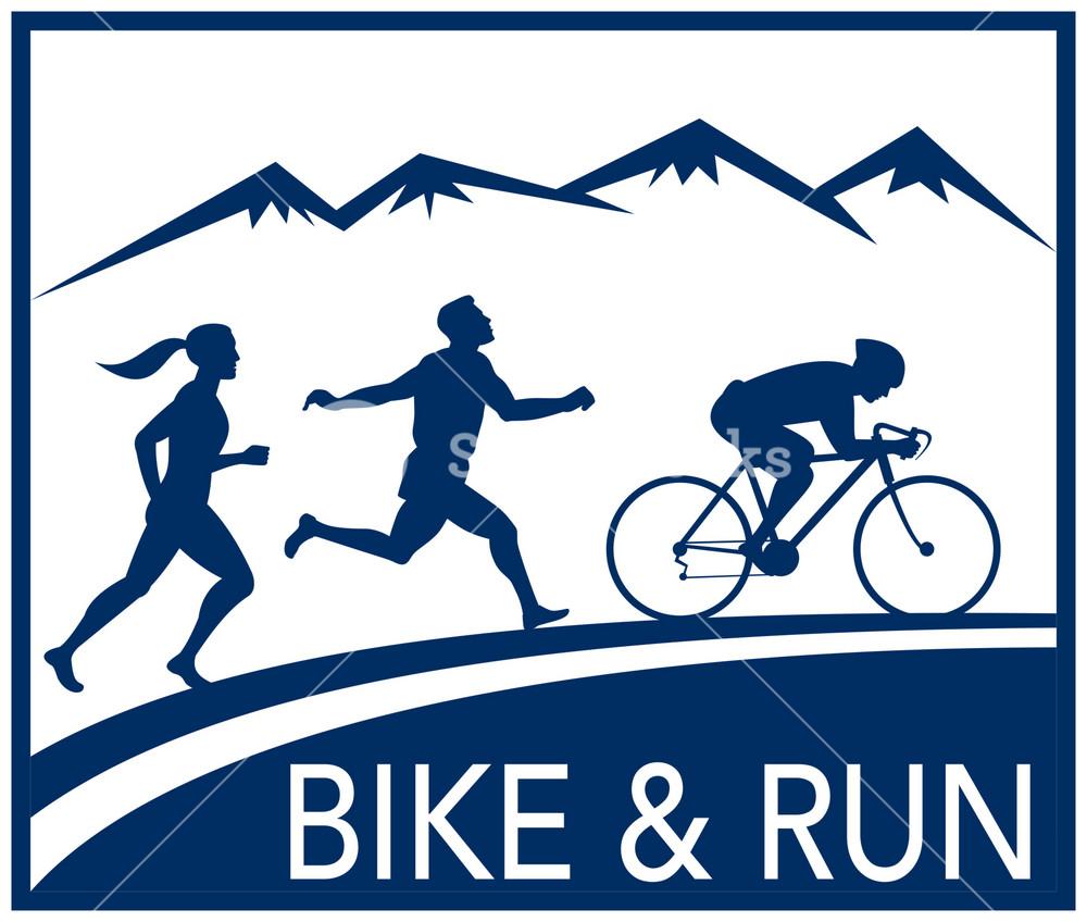 Marathon Runner Bike Cycle Run Race