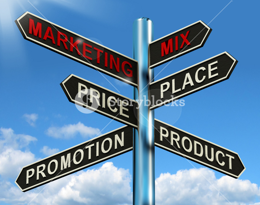 Marketing Mix Signpost With Place Price Product And Promotion