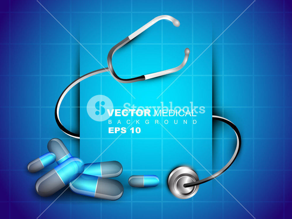 Medical Background With Stethoscope And Diagnostic Letter On Blue. Vector Illustration.