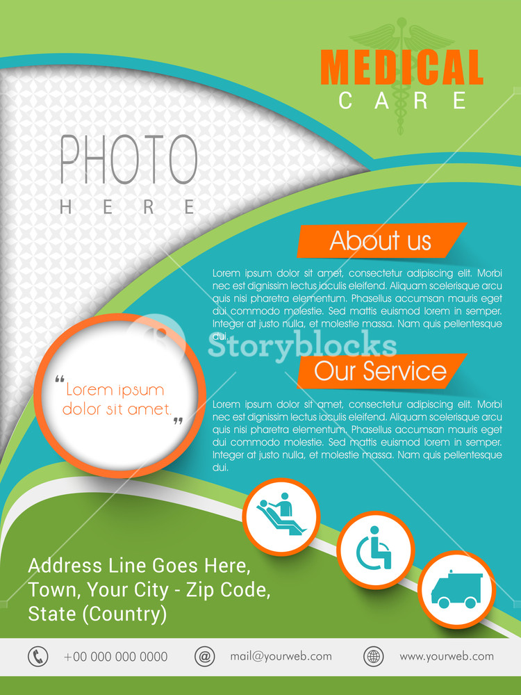 Medical care template banner or flyer design with place holders for image and content.
