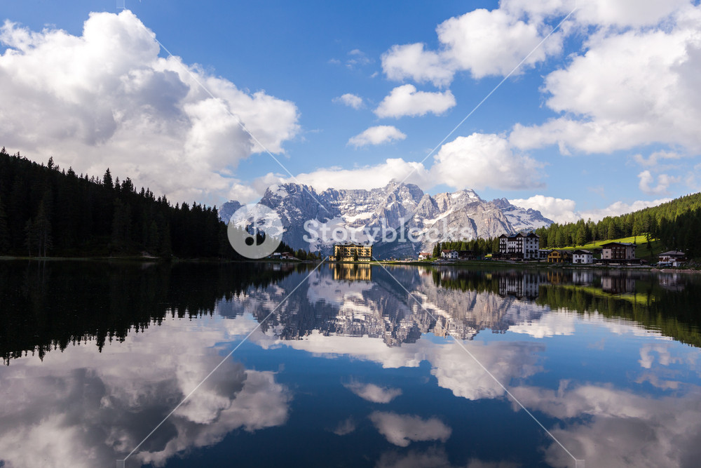 MISURINA, ITALY - JUNE 17: Misurina lake in Veneto province, Italy on June 17, 2014. Misurina is a lake in Dolomites mountain range in northern Italy.