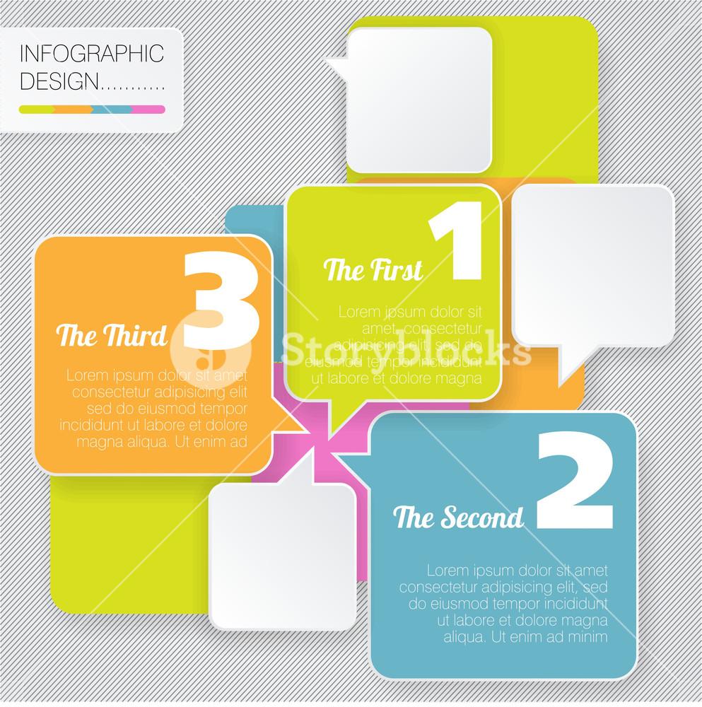 Modern Style Vector Bubble Speech Minimal Flat Infographic Template.