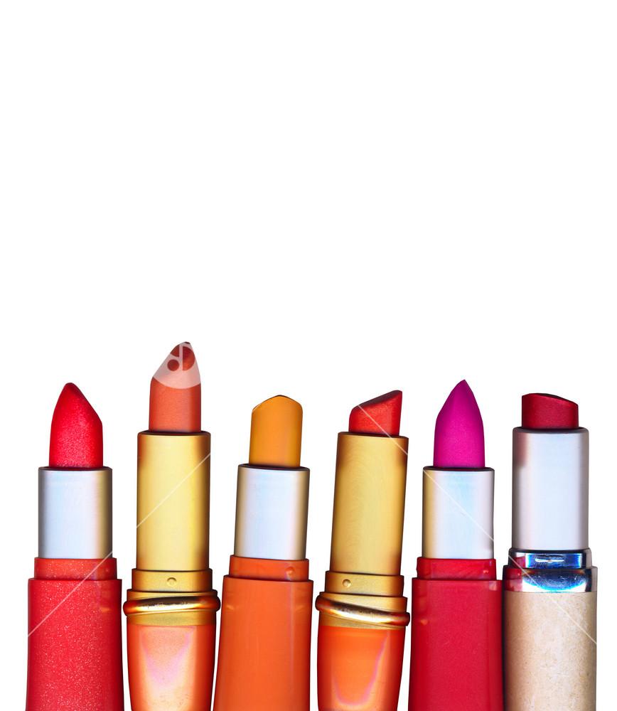 Multicolored Lipsticks Isolated On White