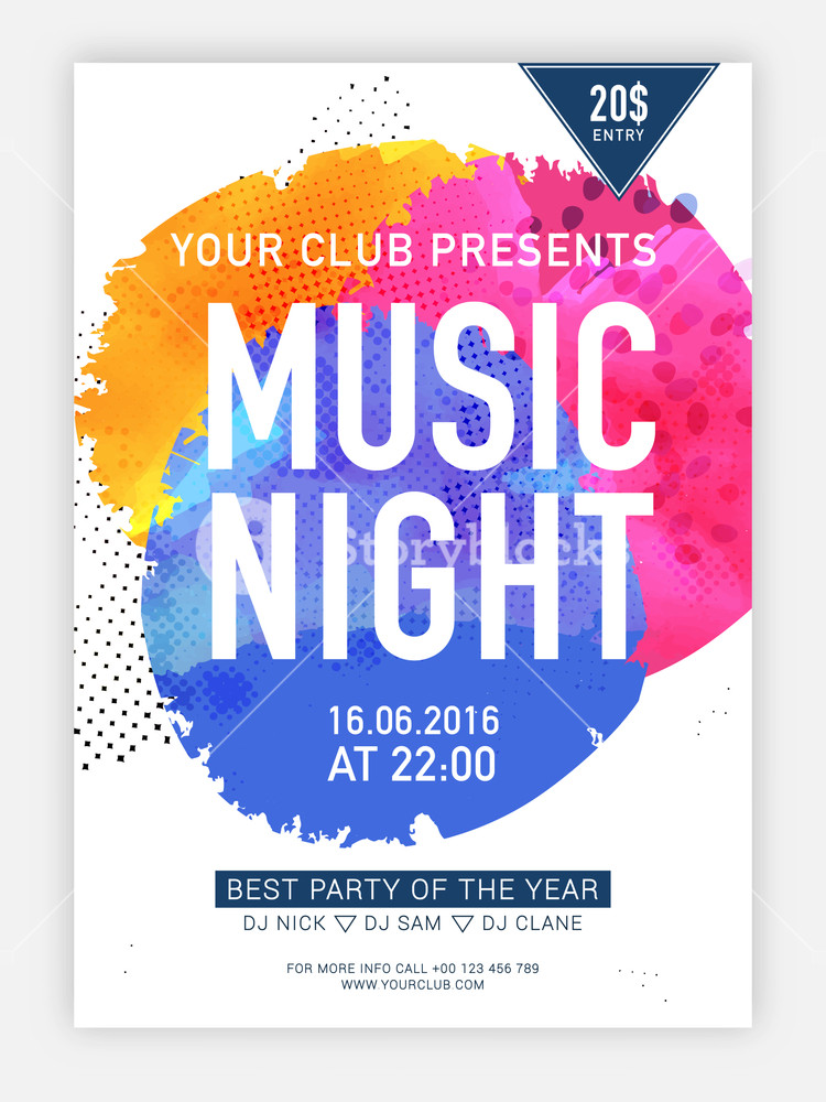 Music Night flyer template or banner design decorated with shiny colorful splash.