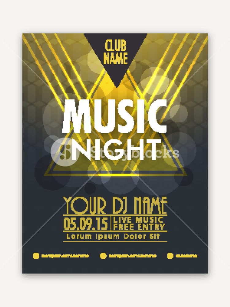 Music Night Party celebration flyer banner or template with shiny abstract design.