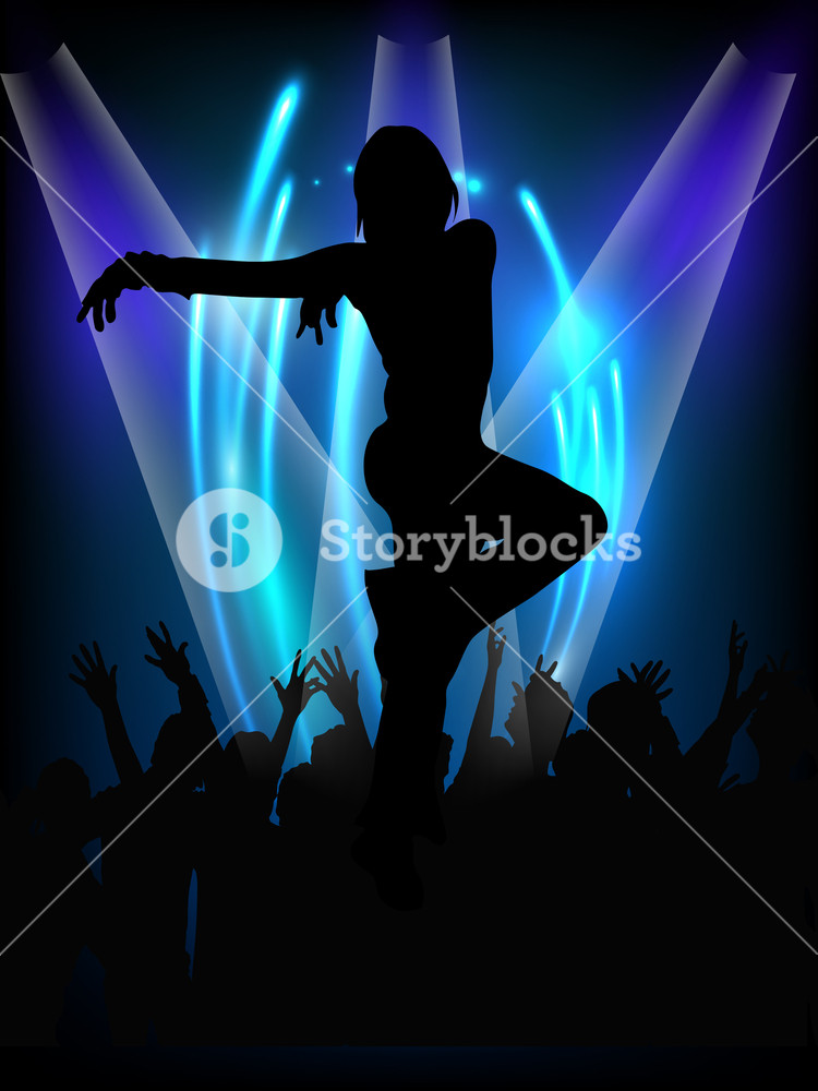 Musical Dance Party Background. Flyer Or Banner With Silhouette Of A  Dancing Girl On Shiny Blue Background.