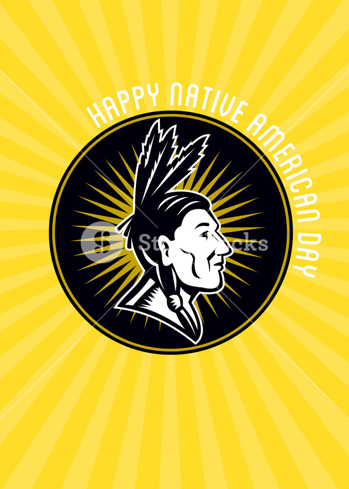 Native American Day Celebration Retro Greeting Card