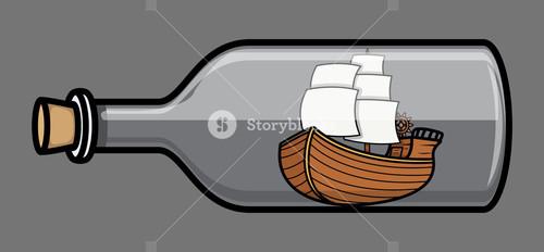 Old Ship In Bottle - Vector Illustration
