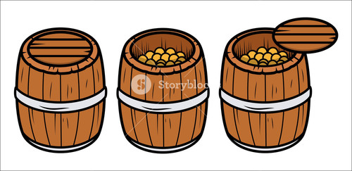 Old Wooden Coin Container - Vector Cartoon Illustration