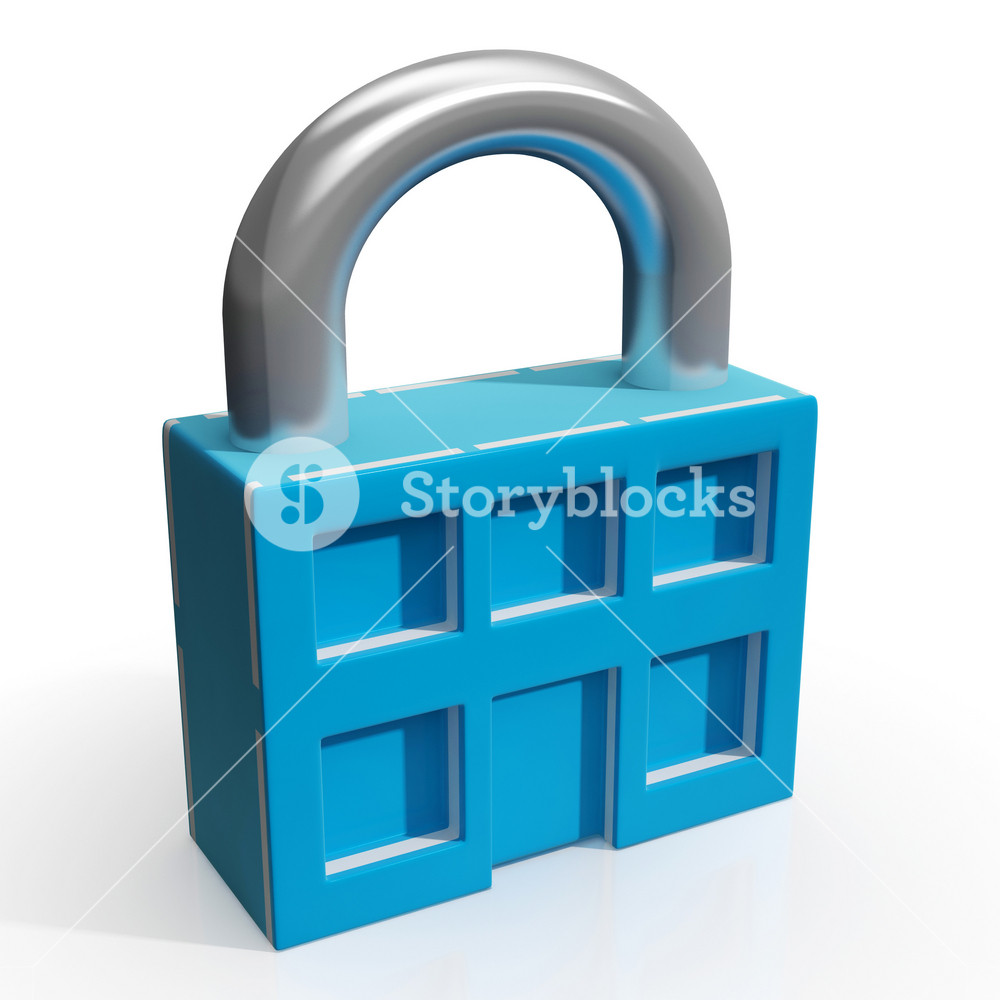 Padlock And House Shows Building Security