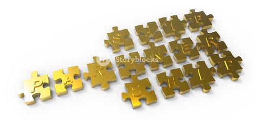 """partnership"" Written Puzzle Gold Pieces"