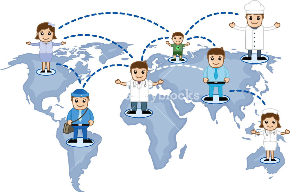 People Network On Map - Social Connectivity Concept