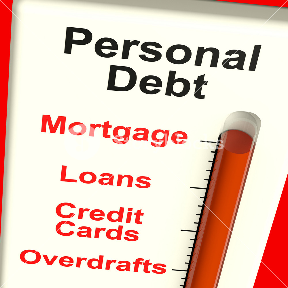 Personal Debt Meter Showing Mortgage And Loans