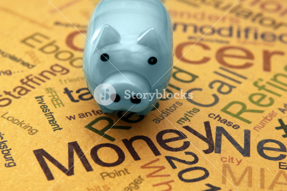 Piggy Bank On Money Text