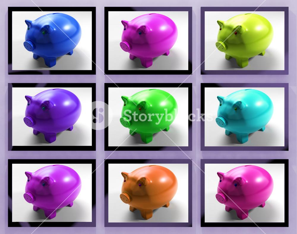 Piggy Banks On Monitors Showing Savings