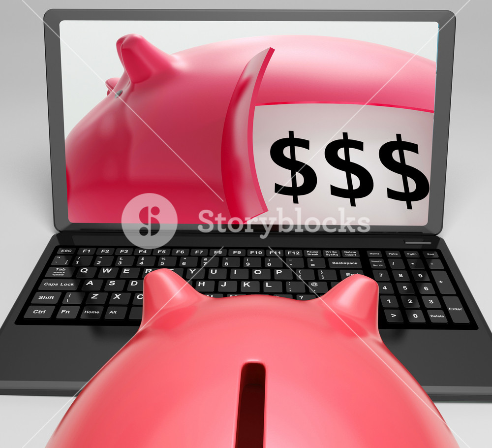 Piggy Vault With Money Showing Money Safety