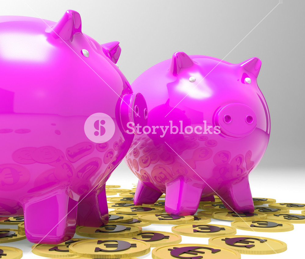 Piggybanks On Euro Coins Showing Richness
