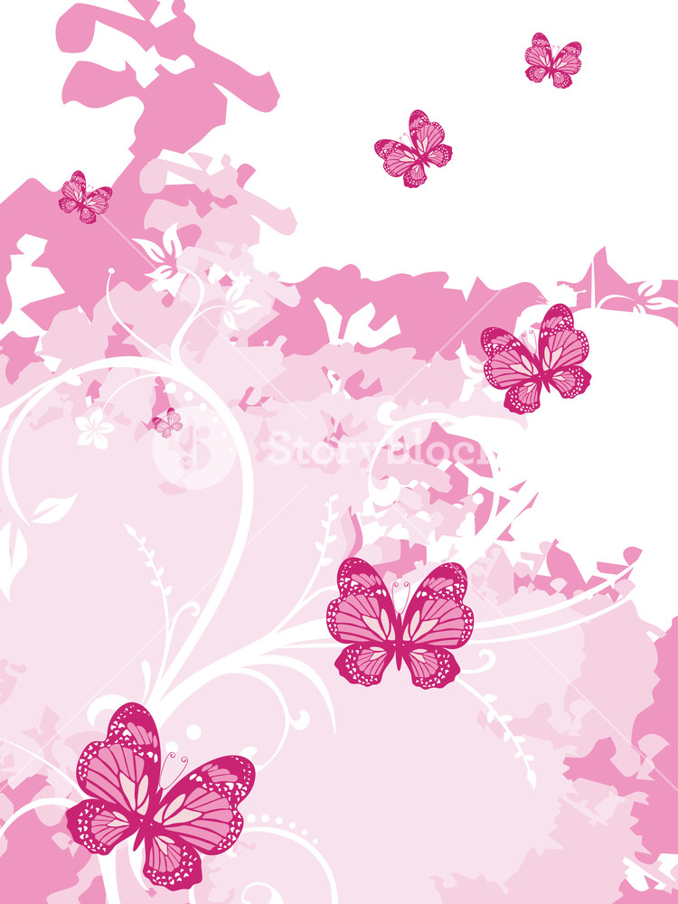 Pink Artistic Background With Butterfly