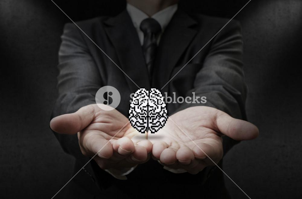 Pixel Brain Icon As Concept