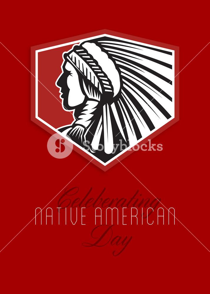 Poster Native American Day Celebration Retro Card