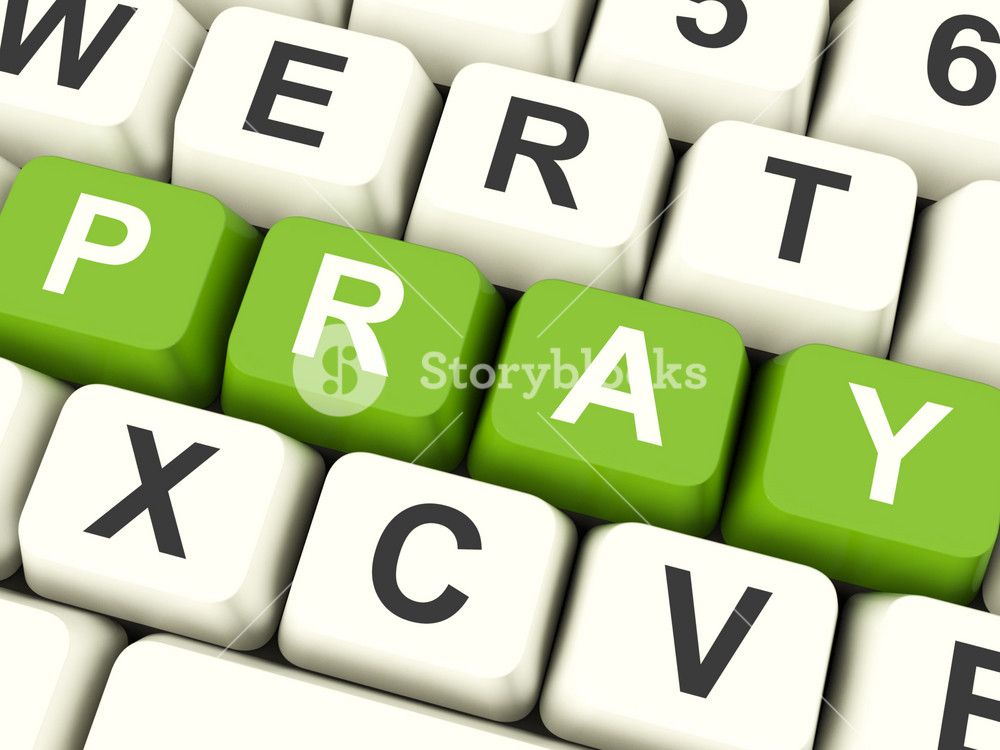 Pray Computer Keys Showing Worship And Religion