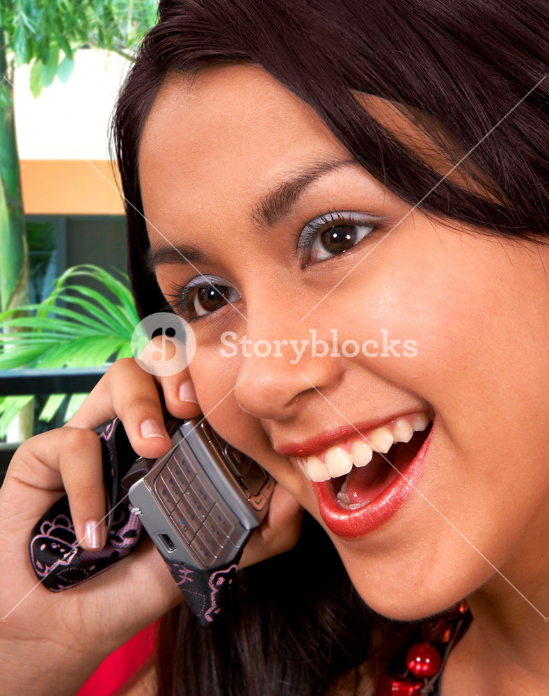 Pretty Girl Chatting On The Phone