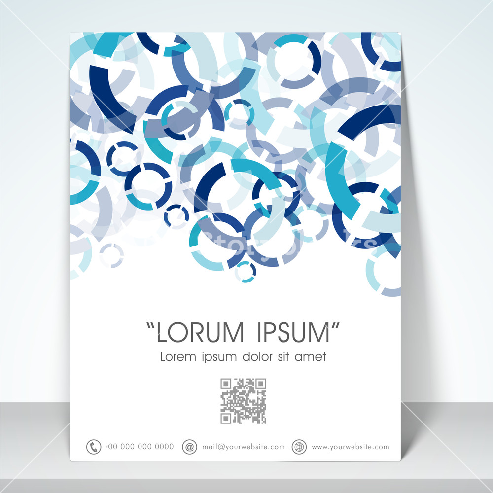 Professional flyer banner or template with blue aqua abstract design for your business.