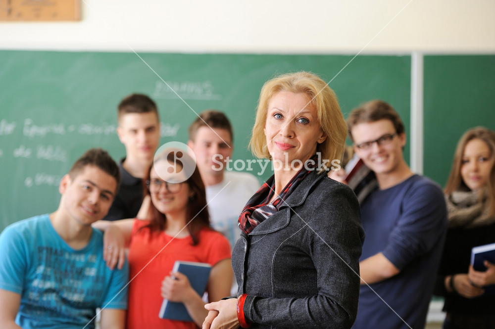 Professor standing in front of a group of students