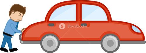 Pushing Car Cartoon Vector