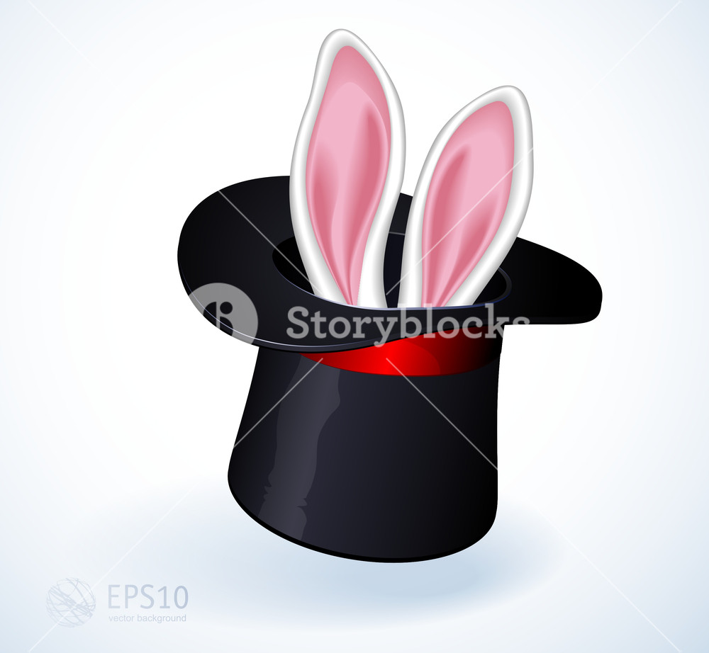 Rabbit Ears Appear From The Magic Top Hat. Vector.