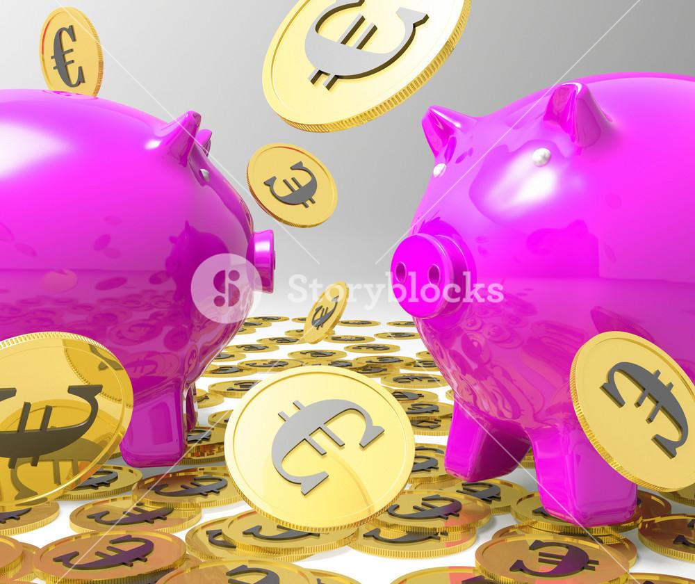Raining Coins On Piggybanks Showing Profits