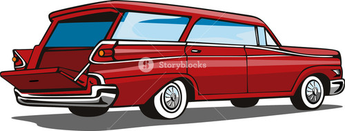 Red Car Station Wagon Back View