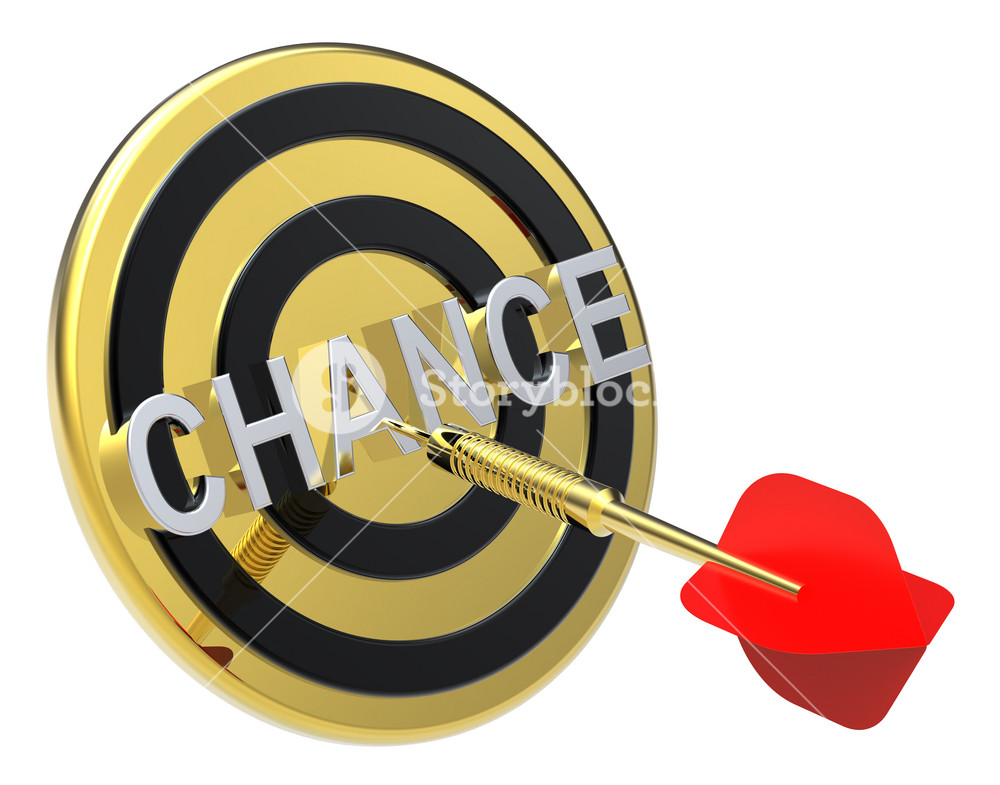 Red Dart On A Gold Target With Text On It. The Concept Of Opportunity Right Choice.