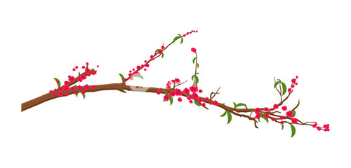 Red Flowers Twig