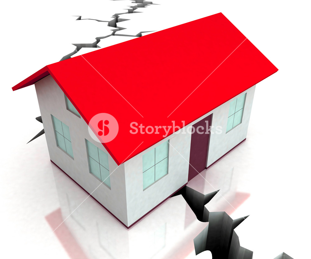 Red Roof House On Crack Shows Disaster