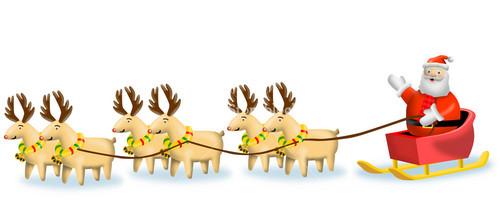 Reindeer Santa On Sleigh Retro
