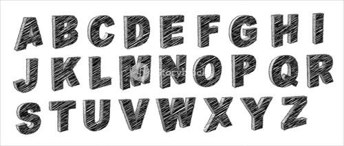 Retro Scribble A To Z Alphabets Vector Collection