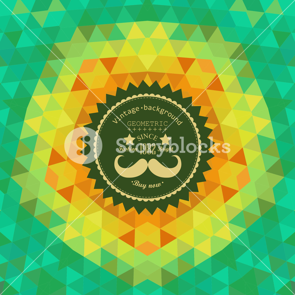 Retro Star Vector Backdrop. Mosaic Hipster Background Made Of Triangles. Retro Label Design. Square Composition With Geometric Shapes