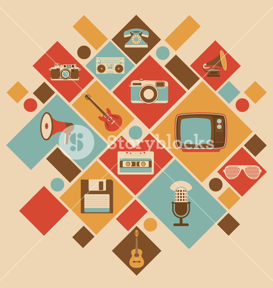 Retro Style Media Icons | Vintage Elements | Nostalgic Design | Good Old Days Feeling | Hipster Trend | Vector Set