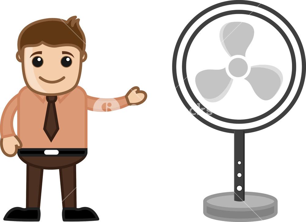 Retro Table Fan - Office Character - Vector Illustration