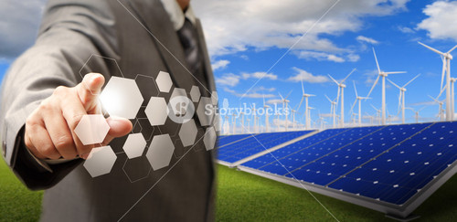 Ritual Buttons And Wind Turbine And Solar Farm