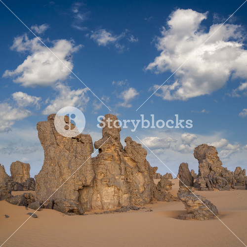 Rock formations in a sandy desert