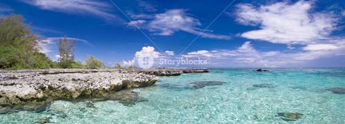 Rocks along a tropical beach