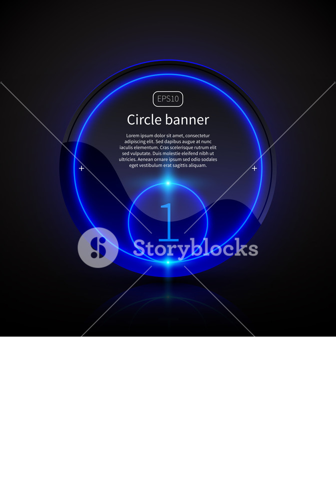 Round Banner With Deep Blue Glowing Elements.