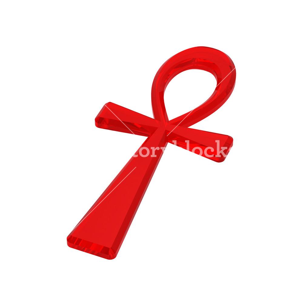 Ruby Ankh Symbol Isolated On The White.